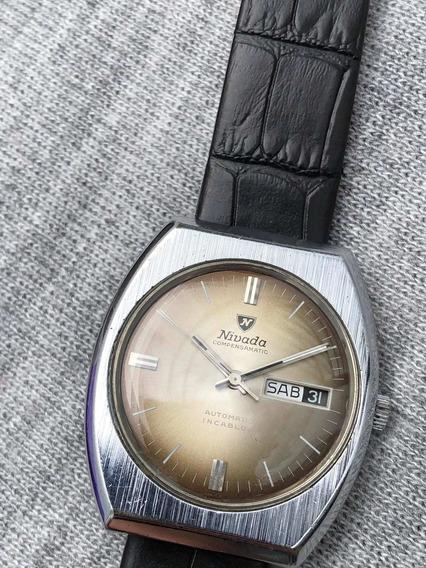 Reloj Nivada Automático Pulso Fechador Suizo Vintage