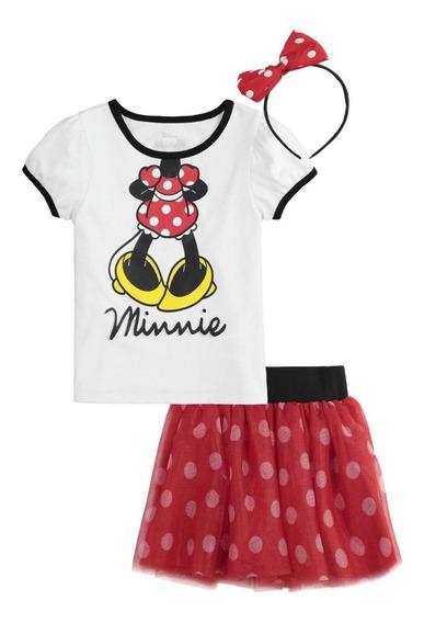Conjunto De Niña Minnie Mouse Blusa+tutu+diadema Importado