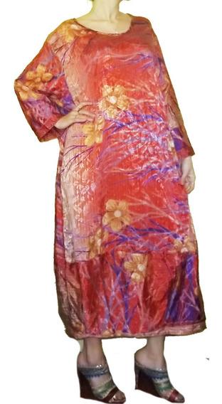 Vestido Hindú Seda Dama Talles Especiales Xxl 100% India