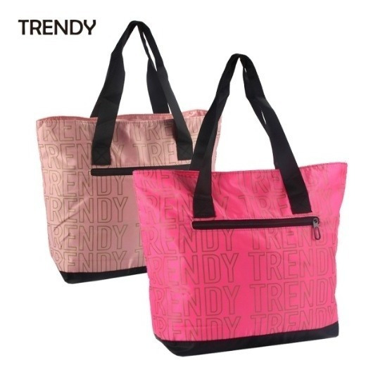 Tote Bag Trendy 8512 Bolso Playero Cartera Fucsia Rosa