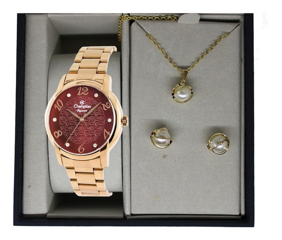 Relógio Champion Feminino Dourado + Kit Colar E Brinco Kit08