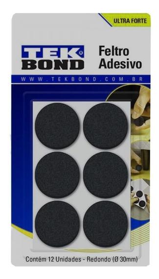 Feltro Redondo Adesivo 30mm Cartela C/12pçs Tekbond