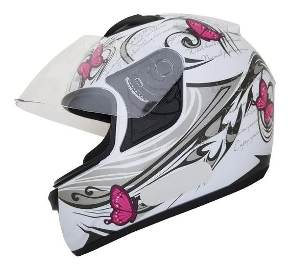 Capacete Moto Feminino Ebf New Spark New Borboleta + Nf