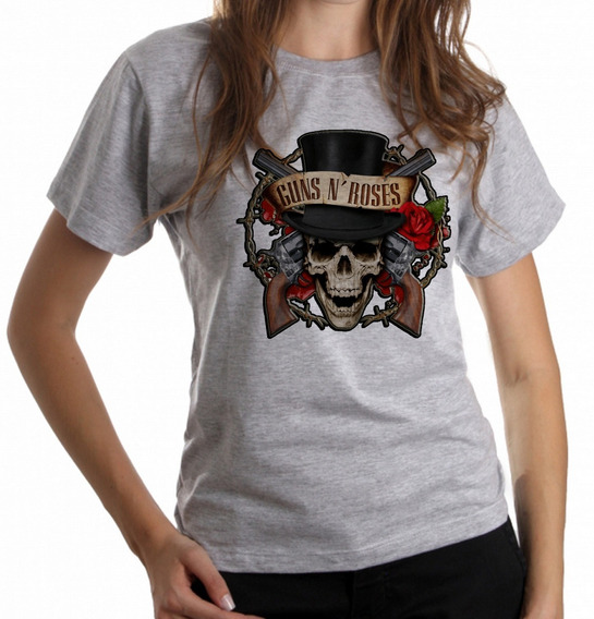 Blusa Baby Look Guns In Roses Caveira Rock In Roll Anos 90