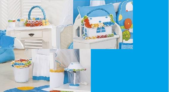 Kit Higiene Para Quarto De Bebe Coleção Fusca Azul