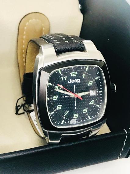 Relógio Jeep Pulseira De Couro Preta