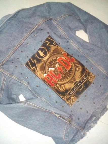 Jaqueta Jeans Feminina Destroyer Banda Rock Acdc
