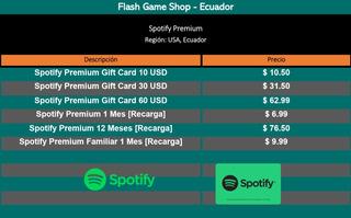 Digital Spotif.y Gift Card Tarjeta De Regalo