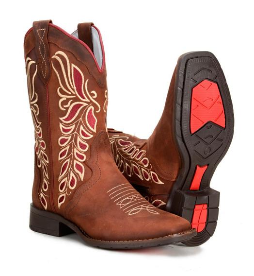 Bota Feminina Country Texana Montaria Couro Legitimo 4countr