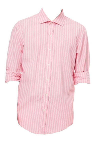Camisa Hombre Bensimon Slim Fit Rosa Rayas