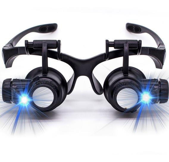 Oculos Lupa Cabeça 8 Lentes Led Alto Brilho Até 25x Aumento