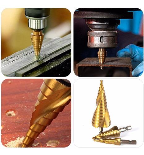 ranura en espiral oro YUIO 3-13 mm Broca de cono escalonada chapada en titanio broca de acero de alta velocidad