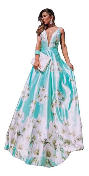 Vestido Longo Floral Lilás Festa Madrinha Casamento Dia
