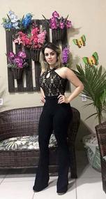 Macacão Feminino Longo Renda Preto Social Acinturado Festa