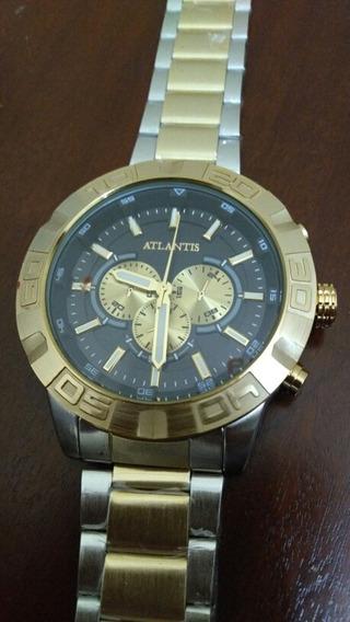 Relógio Atlantis Cromado E Folheado H