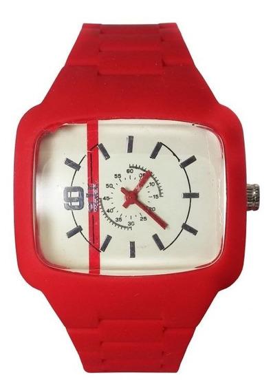 Relógio Pulso Air Watch Pulseira Silicone Vermelho M14
