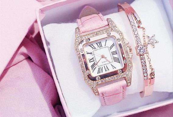 Relógios Quartzo Em Couro Mais Bracelete Rosa Ou Preto.