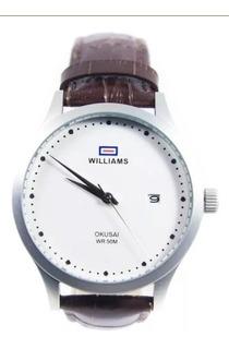Reloj Hombre Williams Malla Cuero Wih0062 Azul Sumergible 50 Mts Garantia 1 Año