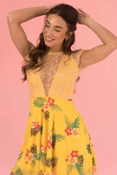 Vestido Espalda Al Aire Color Amarillo Fiesta Dia Bordado