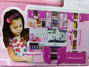 Kit Cozinha Infantil C/3 Modulos Geladeira Lava Louça Armári