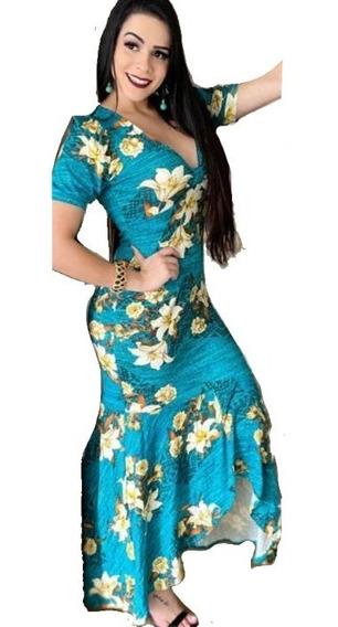 Vestido Feminino Longo Estampado Floral Festa Casamento Top