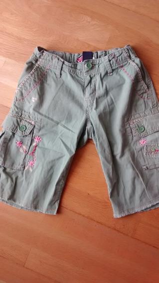 Bermuda Gabardina Gap Bordada Nena Pantalon Verde Verano