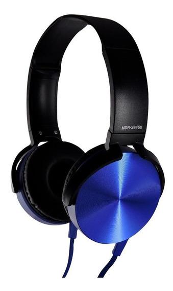 Headphone Extra Bass Com Fio Mdr-xb450 Azul