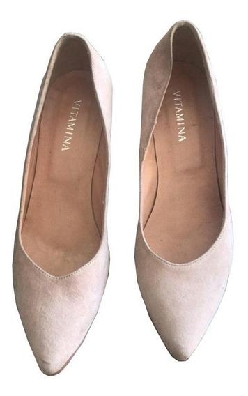 Zapatos Stilettos De Gamuza Y Cuero Beige Vitamina