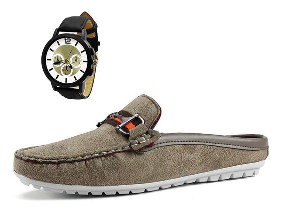Combo Slip On Mule Masculino Casual Camurça + Relógio