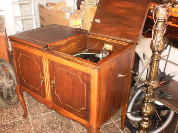 Antiga Gramofola,radiola Gramofone A Manivela,linda