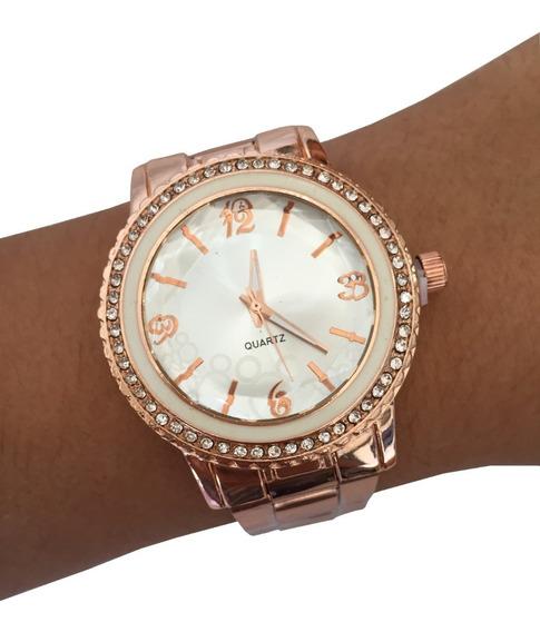 Relógio Feminino Prata Rose Gold Strass Prateado Barato