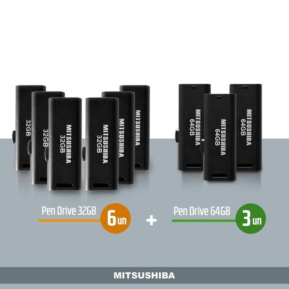 Kit Pen Drive 32gb 6pcs + 64gb 3pcs Mitsushiba