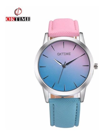 Relógio Oktime De Pulso Feminino - Quartz De Aço Inoxidável
