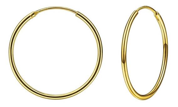 Arracadas De 50mm En Plata De Ley 925 Con Baño De Oro De 18k