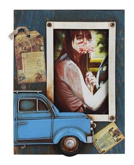 Porta Retrato Com Fusca Azul 23x18x2cm