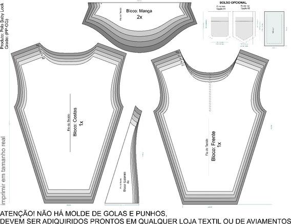 Molde Polo Masculino, Feminino E C/ Recorte Lateral Modelage