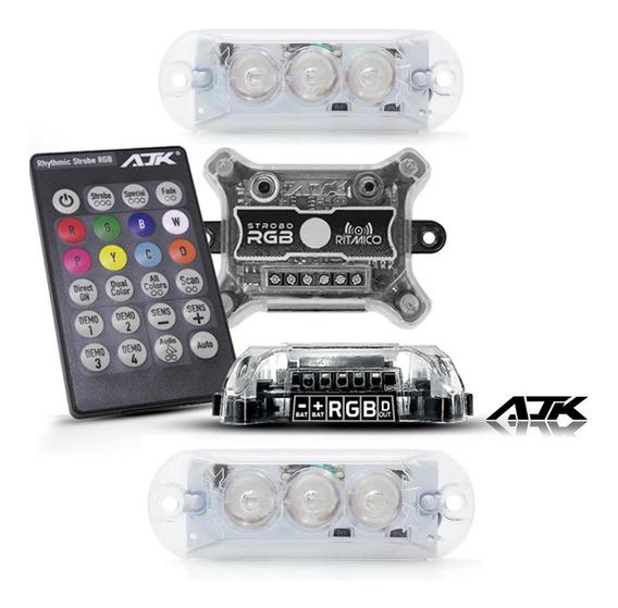 Strobo Ajk Ritmico Rgb 8 Cores C/ Controle Lançamento