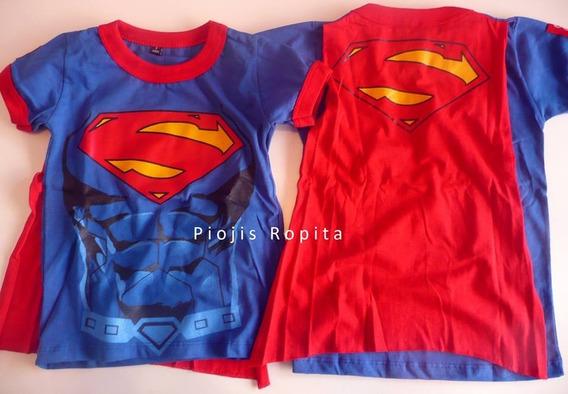 Disfraz Superman Nene Niñ Super Man Remera C Capa Superheroe