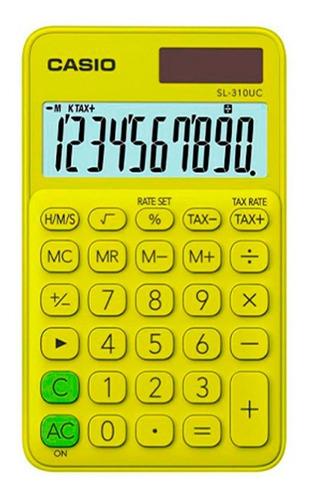 Calculadora Casio Portatil Sl-310uc-yg Verde Con Amarillo