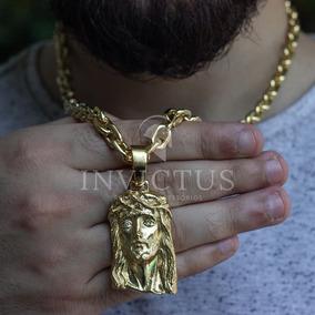 Cordão Cadeado 7mm 60cm+ Pingente Cristo Banhados A Ouro 18k