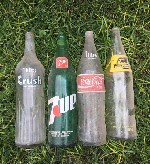 Lote 4 Botellas De Gaseosas Antiguas 7up Crush Coca