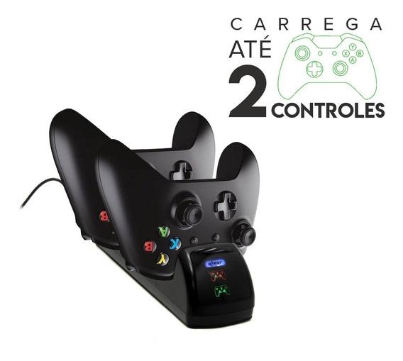Base Carregadora Para Dois Controles Xbox-one + 02 Baterias
