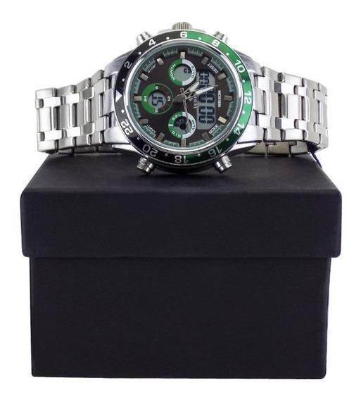 Relógio Masculino Prata E Verde Aço Homem Moderno + Caixa
