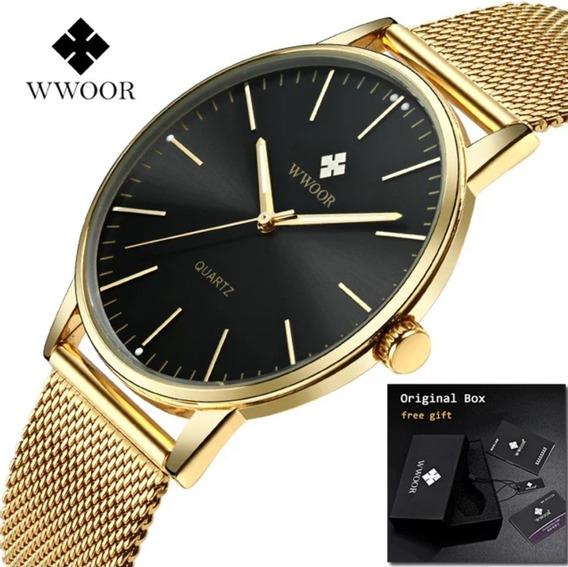 Relógio Masculino Social Luxo Wwoor 8832 Pulseira Aço Inox!