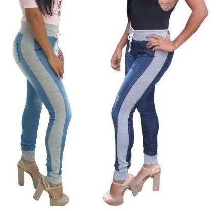 Calças Jeans Femininas Com Moletom Cintura Alta Frete Grátis