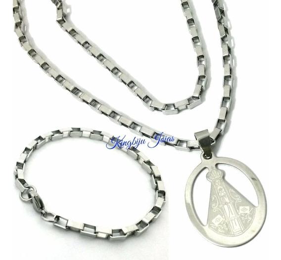 Pingente Nossa Senhora +cordão +pulseira Em Aço Antialérgico
