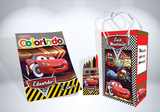 130 Kit De Colorir Carros Revista Sacola Giz Lembrança