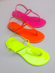 (kit 3 Pares) Sandálias Rasteiras Sapatilhas Verniz Neon