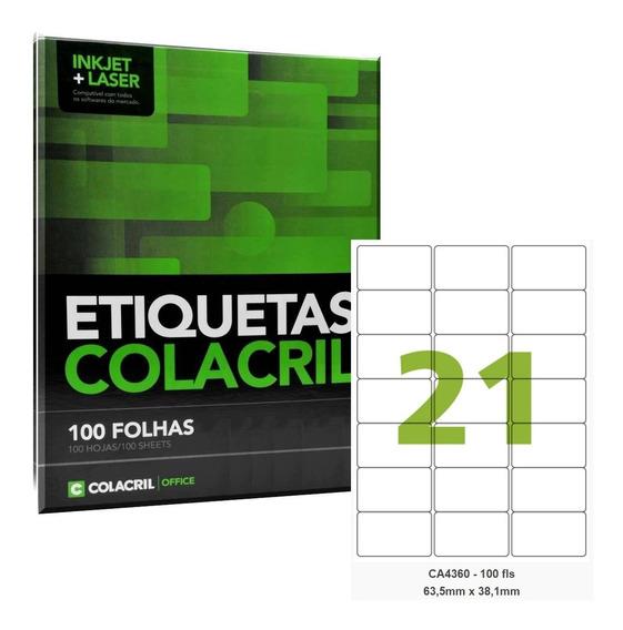 Etiqueta Adesiva A4 Ca4360 63,5x38,1mm Colacril 500 Folhas