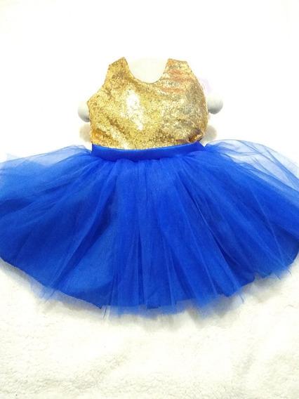 Vestido De Niña Corto Talla 3/4 Azul Rey